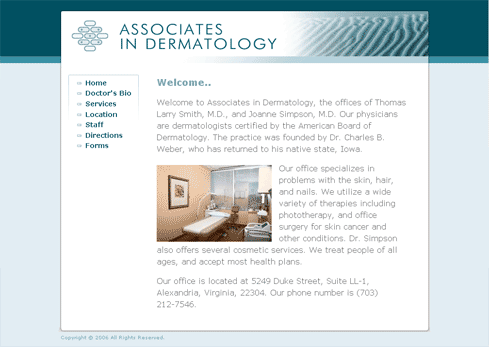 Associates in Dermatology Home Page